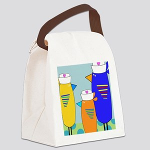 Whimsical Nurse Birds Canvas Lunch Bag