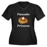 Pancake Prin Women's Plus Size V-Neck Dark T-Shirt