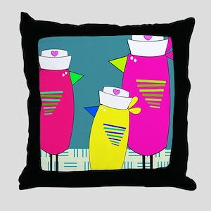 Whimsical Nurse Birds Throw Pillow