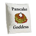 Pancake Goddess Burlap Throw Pillow