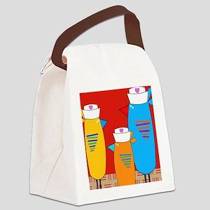 Whimsical Nurse Birds Canvas Lunch Bag