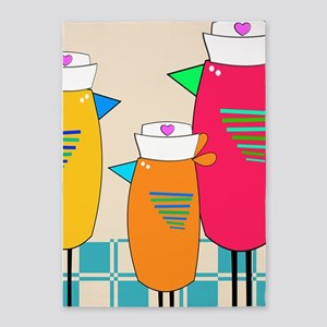 Whimsical Nurse Birds 5'x7'Area Rug