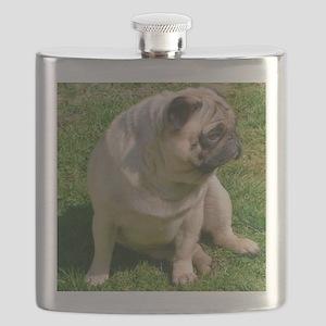 Sitting Fawn Pug Flask