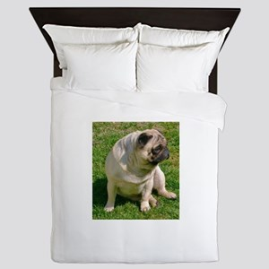 Sitting Fawn Pug Queen Duvet