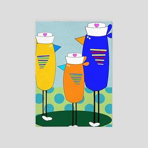 Whimsical Nurse Birds 5'x7'Area Rug