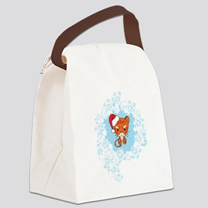 Snowflake Tiger Canvas Lunch Bag