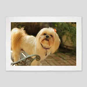 Koko Lhasa apso brick patio outdoor 5'x7'Area Rug
