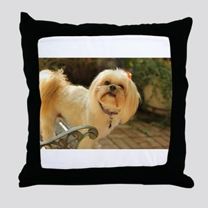 Koko Lhasa apso brick patio outdoors Throw Pillow