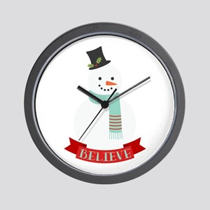 Believe Snowman Wall Clock