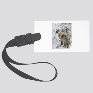 Burmese Cat in snow Large Luggage Tag