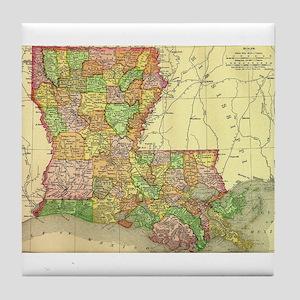 1895 Louisiana Map Tile Coaster