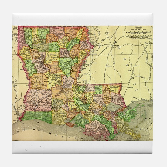 1895 Louisiana Map Tile Coaster