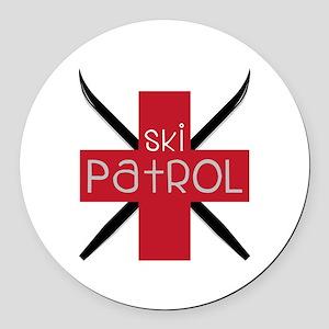Ski Patrol Round Car Magnet