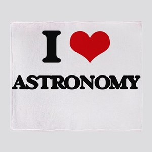 I Love Astronomy Throw Blanket