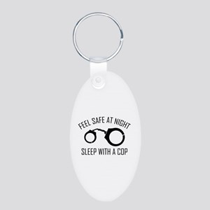 Feel Safe At Night Aluminum Oval Keychain