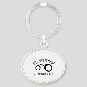 Feel Safe At Night Oval Keychain