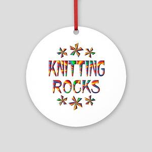 Knitting Rocks Ornament (Round)