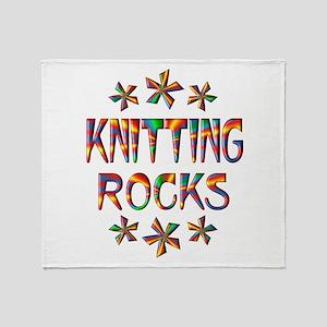 Knitting Rocks Throw Blanket