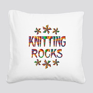 Knitting Rocks Square Canvas Pillow
