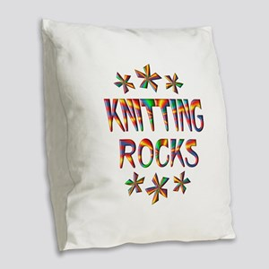 Knitting Rocks Burlap Throw Pillow