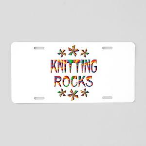 Knitting Rocks Aluminum License Plate