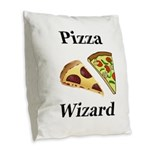 Pizza Wizard Burlap Throw Pillow