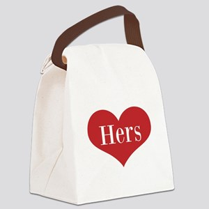 His and Hers red heart Canvas Lunch Bag