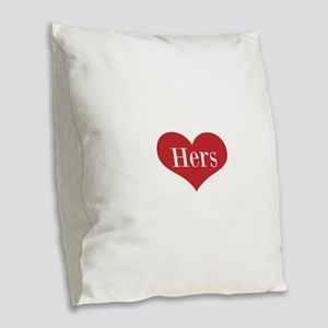 His and Hers red heart Burlap Throw Pillow