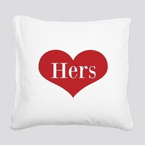 His and Hers red heart Square Canvas Pillow