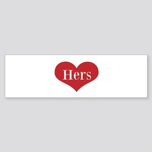 His and Hers red heart Bumper Sticker