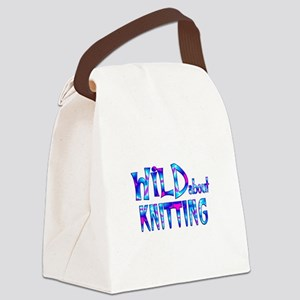 Wild About Knitting Canvas Lunch Bag