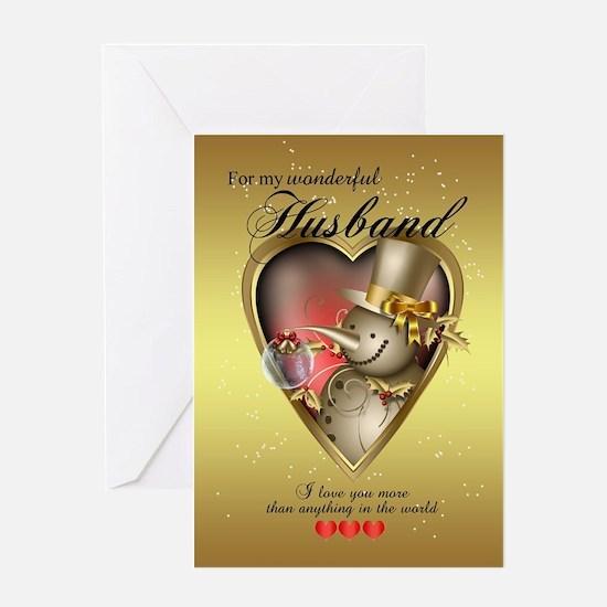 Husband Snowman Christmas Card Greeting Cards