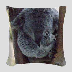 Koala sleeping Woven Throw Pillow