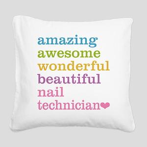 Nail Technician Square Canvas Pillow