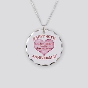 40th. Anniversary Necklace Circle Charm