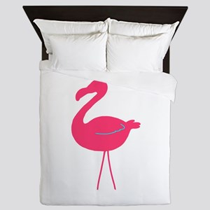 Teal and Pink Flamingo Silhouette Queen Duvet