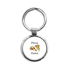 Pizza Guru Round Keychain