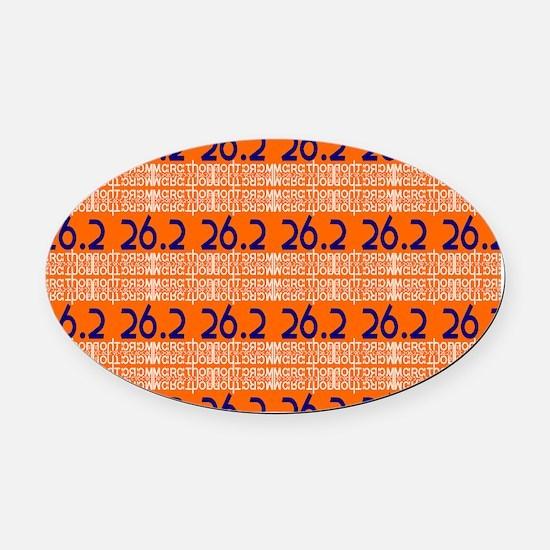 Marathon Typography Oval Car Magnet