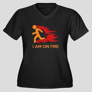I Am On Fire Women's Plus Size V-Neck Dark T-Shirt