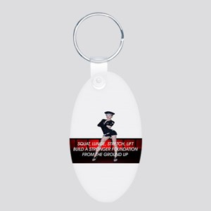 Workout Routine Aluminum Oval Keychain