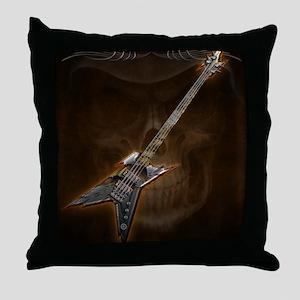Death Bass Skull by Bluesax Throw Pillow
