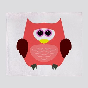 Owl (Red) Throw Blanket