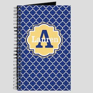 Blue Yellow Quaturefoil Personalized Journal