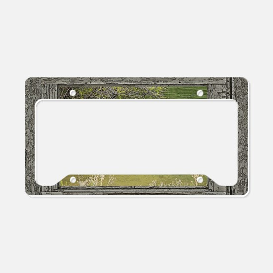Old window canadian geese License Plate Holder