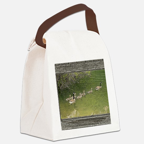 Old window canadian geese Canvas Lunch Bag