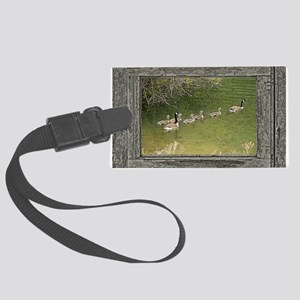 Old window canadian geese Large Luggage Tag