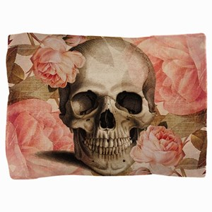 Vintage Rosa Skull Collage Pillow Sham