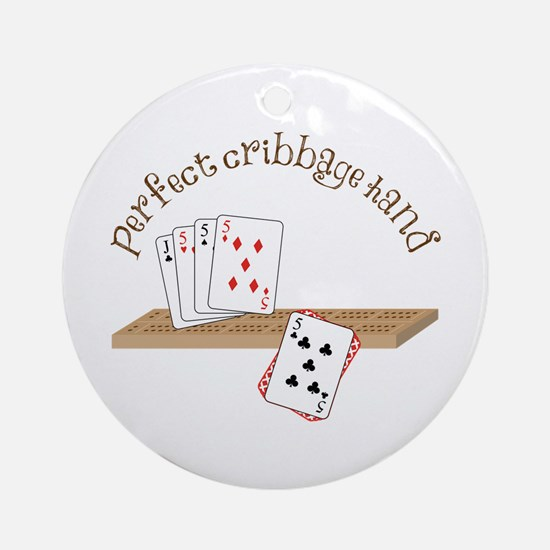 Perfect Cribbage Hand Ornament (Round)
