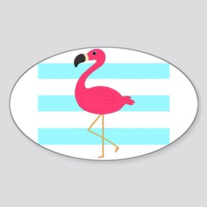 Pink Flamingo on Teal Stripes Sticker