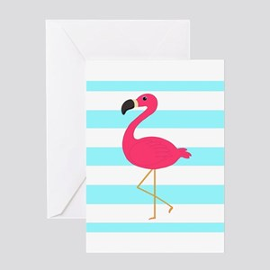 Pink Flamingo on Teal Stripes Greeting Cards